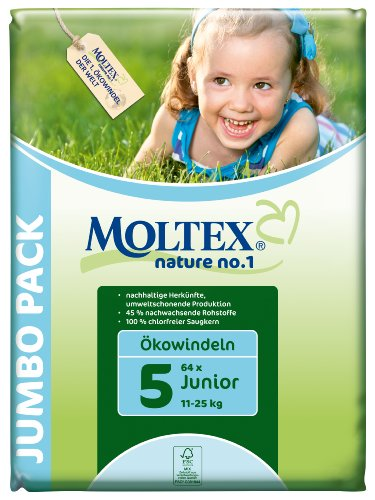 Moltex nature no.1 Ökowindeln Junior Jumbopack, 1er Pack (1 x 64 Stück)