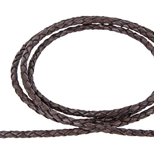 AURORIS - Lederband geflochten - Durchmesser/Farbe / Länge wählbar - Variante: Ø 3mm / antik-dunkelbraun / 3m
