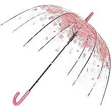 Paraguas Transparente, BeuatyPO Paraguas romántico Rosa Cereza con Mango Cómodo, Clear Bubble Windproof, Paraguas Automático para Niñas & Mujeres (Rosa mango cómodo)