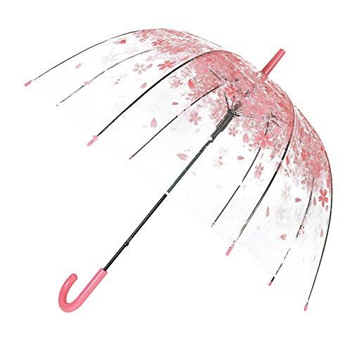 Durchsichtiger Regenschirm,BeautyPO Romantische Rosa Kirsche Birdcage Regenschirm, Klar Blase Regenschirm mit Bequemem Griff,Winddicht Half-Automatik Regenschirm für Damen Mädchen