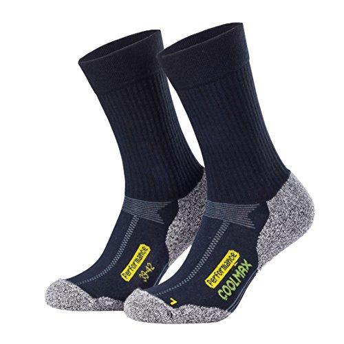 Gepolsterte Sport Quarter Socken (Piarini 2 Paar Coolmax Wandersocken Outdoorsocken Funktionssocken lang marine 39-42)