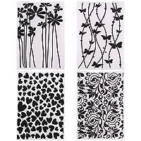 OOTSR 4 piezas Carpeta en Relieve de plástico, 14.5 x 10.5cm Plantilla de carpeta de estampado para Scrapbooking/Creación de tarjetas/Álbum de fotos/Invitaciones/Bricolaje Arte