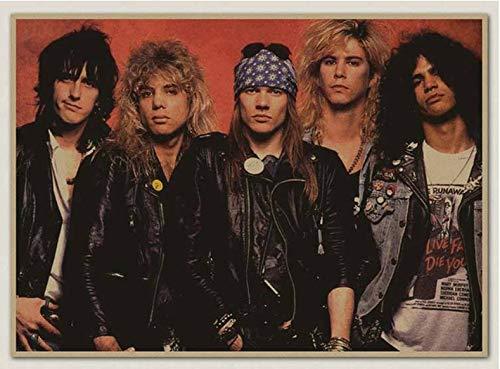 PWERWOTAM Die Guns N 'Roses N' Roses GNR Kraftpapier Poster Retro Rockers Dekorative Malerei Poster Vintage Wandaufkleber 42 * 30 cm -