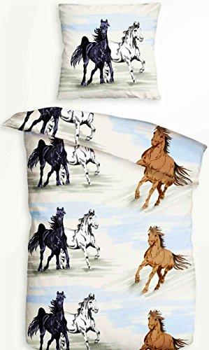 Leonado Vicenti Juego de funda nórdica y funda de edredón de 135 x 200 cm algodón cuna 80 x 80 cm caballo almohada oferta precio especial