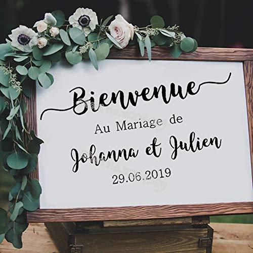 yiyiyaya Bienvenue Au Mariage de Wood Bord Aufkleber Benutzerdefinierte Namen Braut bräutigam Datum Hochzeit Willkommensempfang Zeichen Aufkleber wandbild82 * 42 cm