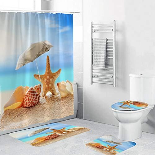 oration Zum Party Hochzeit Weihnachten Festival,4 STÜCKE Rutschfeste Toilette Polyester Abdeckmatte Set Bad Duschvorhang ()