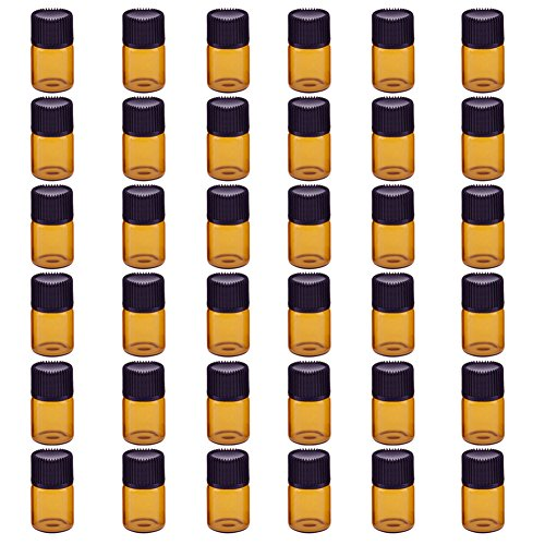 Qinlee Mini Glasflaschen mit Kein Perforation Stopper Fläschchen Braunglas Emulsion Aromatherapie Flaschen Leer Ölflasche Perfekt für Home/Reisen (36pcs-2ml) - 2 Bottle Stopper