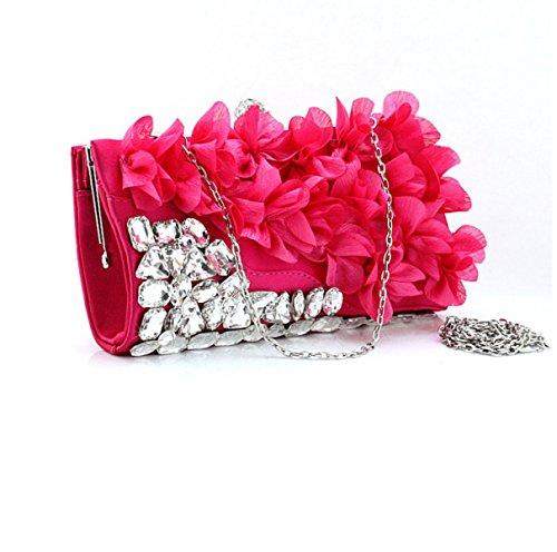 Strawberryer Fleurs Sacs à Main Sacs à Main Banquet Bridal Decoration Wallet Europe Et Les États-Unis Ladies Wild Clutch RoseRed