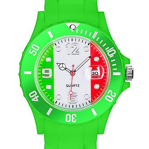 Taffstyle® Fanartikel Silikon Armbanduhr Gummi Trend Watch Quarz Fan Uhr mit Fussball Weltmeisterschaft WM & EM Europameisterschaft 2016 Länder Flaggen Style - Italien