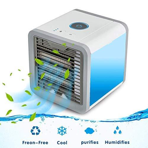 Refroidisseur D'air Portable USB Ventilateur 3 EN 1 Réglable Air Climatiseur Mini Air Refroidisseur Humidificateur Purificateur 7 LED...