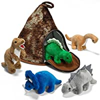 Prextex Dinosaur Volcano House with 5 Plush Dinosaurs Great For Kids