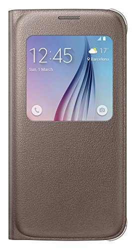 Samsung EF-CG920PFEG Etui Folio de Protection Aspect Cuir S-View pour Samsung Galaxy S6 - Or