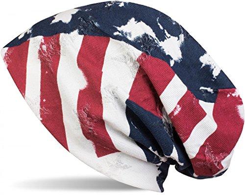 styleBREAKER Bonnet beanie au look vintage destroy avec drapeau USA étoiles et bandes, beanie long souple, unisexe 04024079 Bleu-blanc-rouge