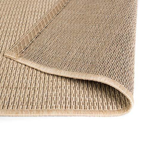 Tidyard Outdoorteppich Webteppich Sisal-Optik Teppiche Türmatte Balkon Flachgewebe Beige