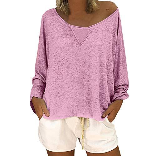 OSYARD Damen Baumwolle Lockere Bluse, Frauen Mode LäSsige Lockere Bluse Lange ÄRmel Schaufel Hals Solid Color Shirt Tops Pullover (M, Rosa)