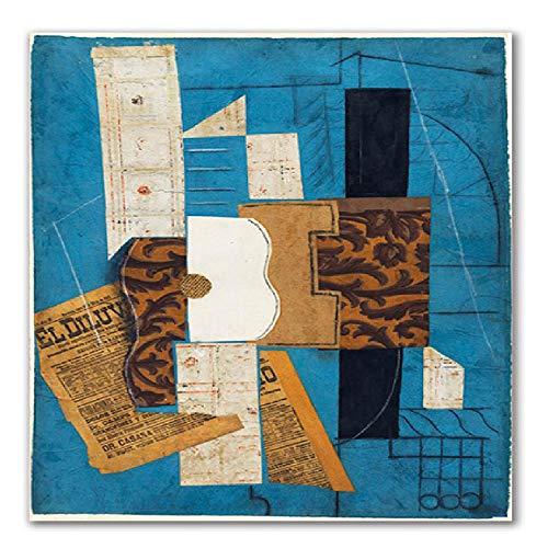 Abstrakte Violine und Gitarre Poster Cafe Bar Wandkunst Leinwand Malerei Kubismus Wandbilder Für Heimtextilien, B 40X50cm