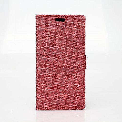 LG G Flex 2 Hülle,LG G Flex 2 Tasche,LG G Flex 2 Schutzhülle,LG G Flex 2 Hülle Case,LG G Flex 2 Leder Cover,Cozy hut [Burlap - Muster-Mappen-Kasten] echten Premium Leinwand Flip Folio Denim Abdeckungs-Fall, Slim Case mit Ständer Funktion und Identifikation-Kreditkarte Slots für LG G Flex 2 / F510L (5,5 Zoll) - Rote