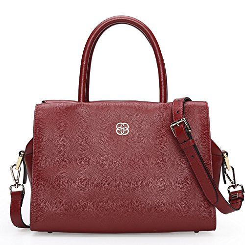 Sac à main en cuir féminin de la mode de la Couche de la peau de vache femelle sac à bandoulière ( couleur : Noir ) Rouge