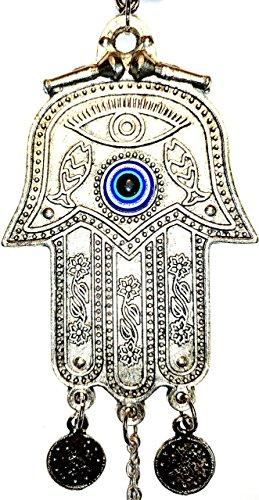 Amulett/Talisman zum Aufhängen mit türkischer Hand der Fatima und blauem Auge gegen den bösen Blick, Glücksbringer