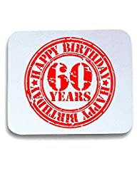 Idea Regalo - Cotton Island - Tappetino Mouse Pad TR0057 Happy 60th Birthday 60 Years Old Red Stamp Artwork, Taglia taglia unica