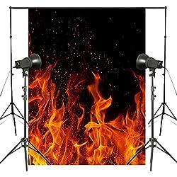 DLQX 5X7Ft Danse Flammes Photographie Toiles De Fond Fond Noir Art Photo Studio Props Photographie Toiles De Fond