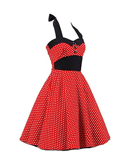 SaiDeng Femmes Mini Polka Point Rockabilly Cru Cocktail Robe Comme Image