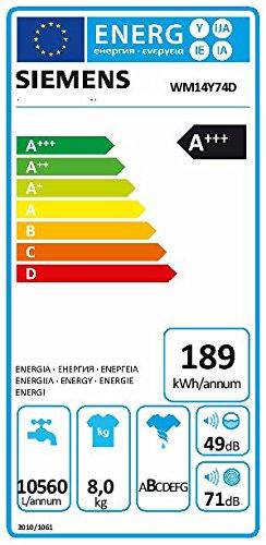 Siemens iQ800 WM14Y74D iSensoric Premium-Waschmaschine / A+++ / 1400 UpM / 8 kg / Weiß / VarioPerfect / Super15 / Antiflecken-System - 2