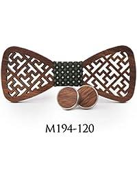 ZHENZHIA Pajarita De Madera Cuadrados geométricos tallados Corbata Conjunto Camisa para Hombres