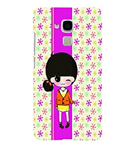 PrintVisa Cute Cartoon Art Print & Pattern Girl 3D Hard Polycarbonate Designer Back Case Cover for HONOR 5C