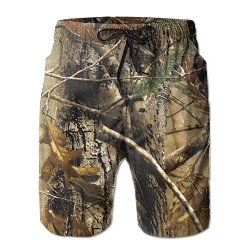 Realtree Camouflage Camo Men's Beach Pants Swimming Trunks Quick-Dry Boardshorts with Mesh Lining(L)