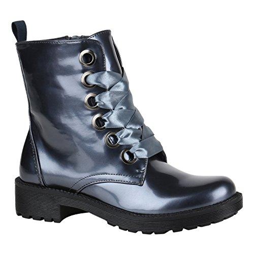 Stiefelparadies Damen Stiefeletten Worker Boots Spitze Stiefel Schuhe Flandell Blau Grau Metallic Glanz Lack