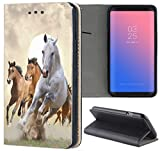 Samsung Galaxy S4 / S4 Neo Hülle Premium Smart Einseitig Flipcover Hülle Samsung S4 / S4 Neo Flip Case Handyhülle Samsung S4 Motiv (1025 Pferd Pferde Braun Weiß)