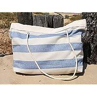 Bolso grande de playa, rayas azules, Big Tote, vacaciones, verano, Bolsa