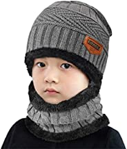 Yuson Girl Conjunto de Bufanda y Gorro de Punto para niños Forro Polar de Lana Beanie Hat Sombrero Cuello Cali