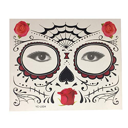 DERKOLY Halloween Fake Tattoo Gesicht Aufkleber Masquerade Cosplay Körper Kunst Make-Up Prop HFS05