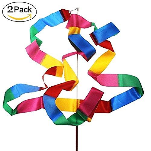 Bestsounds Rhythmic Gymnastics Ribbon Wand Gym Dance Ribbon sport ginnastica danza nastri colore casuale 2PCS