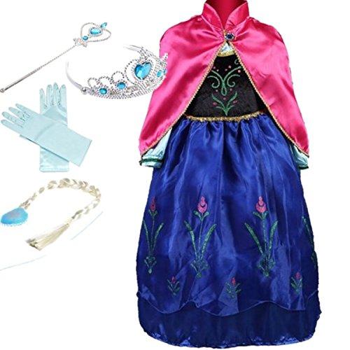 YOGLY Mädchen Prinzessin Elsa Kleid Kostüm Eisprinzessin Set -