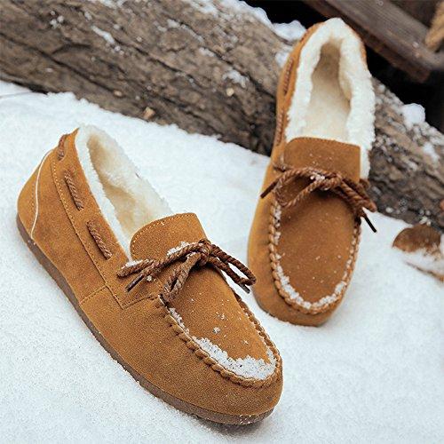 Braun Leicht Gefüttert Erbsenschuhe Hausschuhe Loafers Winter Warm Wildleder Slipper Herren Kuschelig Bootsschuhe Mokassins Schuhe Damen wZq6a8gx