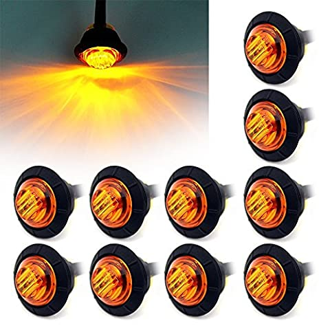 FXC 10x 3/4 Round LED Clearence Light Front Rear Side Marker Indicators Light for Truck Car Bus Trailer Van Caravan Boat, Taillight Brake Stop Lamp 12V