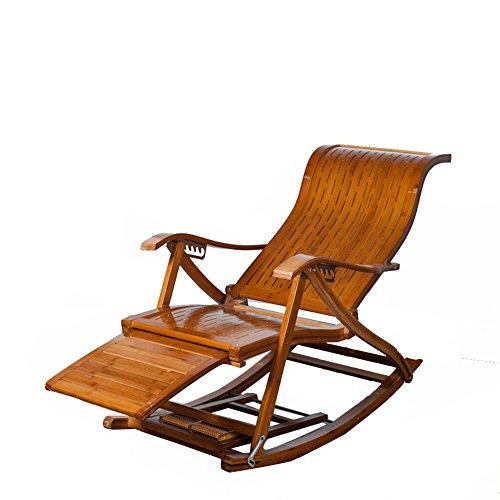 L&J Schaukelstühle,Portable faltung solide Holz terrasse Liege Stuhl alt Mann liegesessel stühle,Bambus,Traglast 150kg,Stabile langlebige terrasse liegestühle-G
