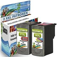 Premium Conjunto de 2 Cartuchos de Tinta Compatible con Canon PG-37 XL + CL-38 XL Para PIXMA MP140 MP190 MP210 MP220 MP470 IP2500 IP1800 IP1900 MX300 IP2600 IP2580 MP160 MX310 MP150 MP170 (negro , de colores) 1xPG-37+1xCL-38-Canon