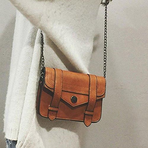 BZLine® Frauen Leder Handtasche Kleine Messenger Schulter Platz Vintage Taschen Braun