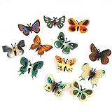 Jooks Kunststoff Schmetterling Modell Mini Figuren Kinder Spielzeug Set aus von Schmetterling Tierfiguren für Jungen Baby und Kinder 12pcs