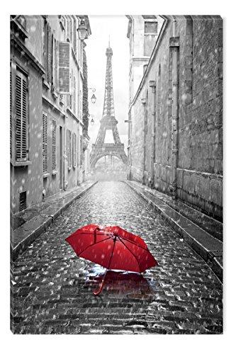 Startonight Leinwand Wand Kunst Schwarz und Weiß Regenschirm in Paris, Doppelansicht Überraschung Modernes Dekor Kunstwerk Gerahmte Wand Kunst 100% Ursprüngliche Fertig zum Aufhängen 60 x 90 CM (Paris-thema Dekor Für Die Wand)