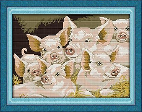 CaptainCrafts Heiß Neue Veröffentlichungen Kreuzstich Kits Muster Stickerei Kit - Schöne Schweine (GESTEMPELT)