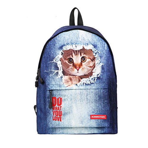 Imagen de ttd 3d cute cat/perro patrón  escuela bolsa de peso ligero  para senderismo viajes camping gato1