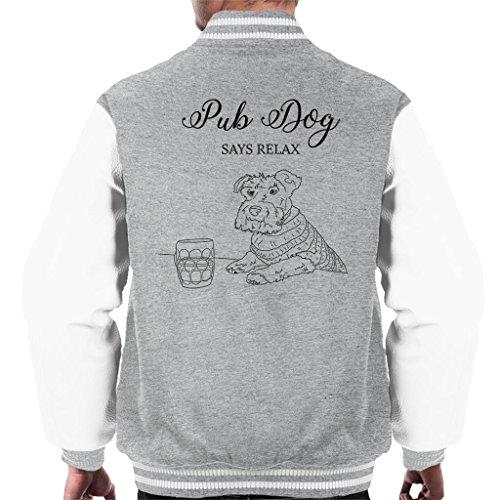 Great British Pub Dogs Pub Dog Says Relax Men's Varsity Jacket