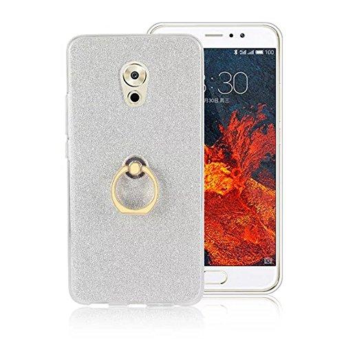 Soft Flexible TPU Back Cover Case Shockproof Schutzhülle mit Bling Glitter Sparkles und Kickstand für Meizu Meilan Pro 6 Plus ( Color : Gold ) White