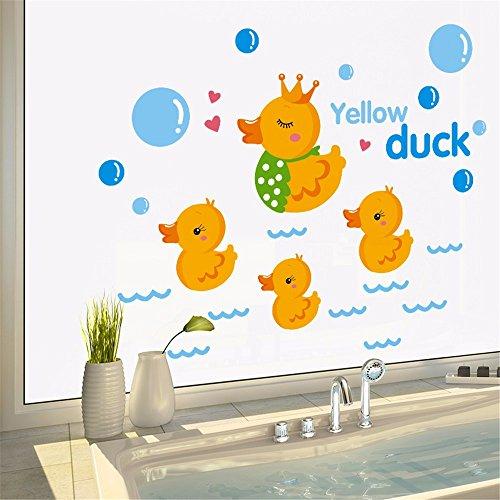 ZRDMN Wandaufkleber Cartoon Schöne Kleine Gelbe Ente Bad Pool Fliesen Glas, 30 * 40 Cm Entfernen Kunst Wandbilder Für Schlafzimmer Wohnzimmer Büro Familie Kindergarten Badezimmer Küche -