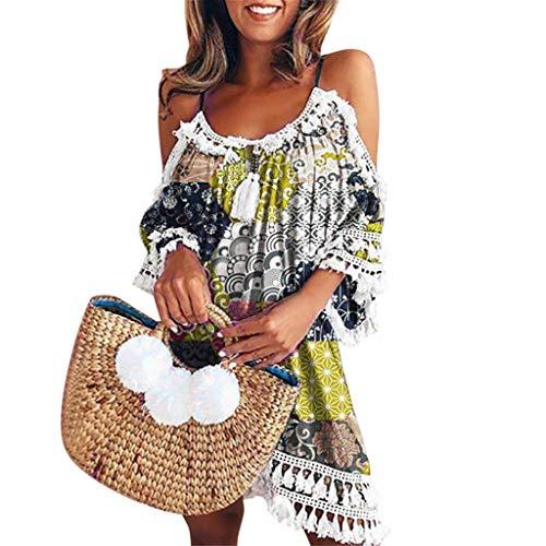 Vimoli Kleider Damen Sommer röcke Frauen Schulterfrei Kleid Quaste Böhmen Gedruckt Cocktail Party Strandkleider(Gelb,XL)